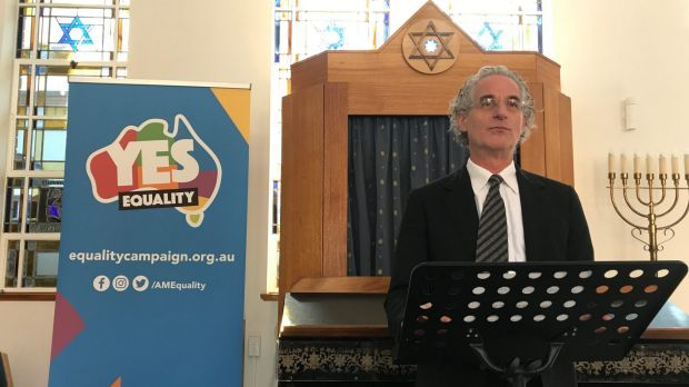 Senior Rabbi Jeffrey Kamins speaks at Emanuel Synagogue in eastern Sydney on  Monday.