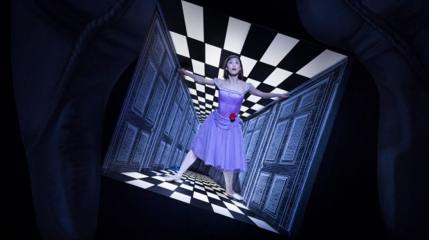 Optical illusions: Alice appears to grow as the set shrinks.