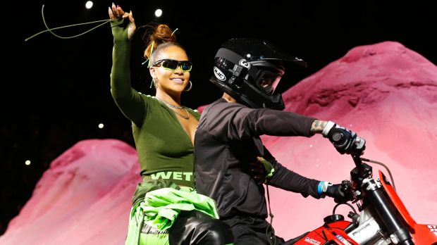 Rihanna revs up New York Fashion week with a millennial pink motocross mania