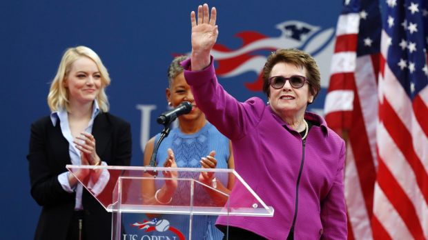 Billie Jean King and Emma Stone at the US Open.