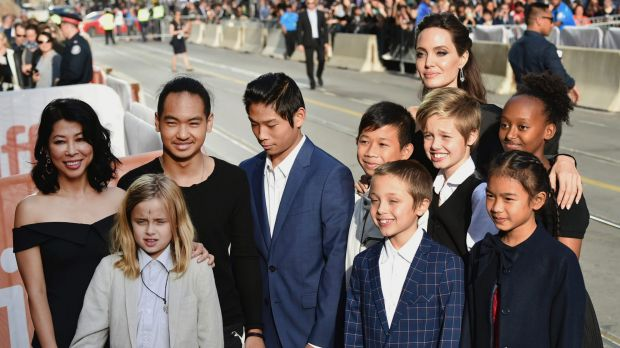 Vivienne Jolie-Pitt front row from left Knox Jolie-Pitt Sareum Srey Moch middle row from left Loung Ung Maddox