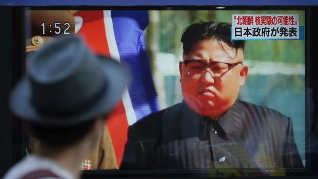 North Korean leader Kim Jong-un on the news in South Korea.