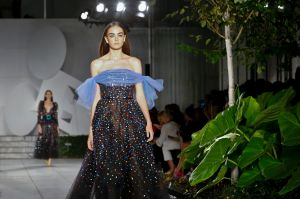 Fashion from Carolina Herrera collection is modeled during Fashion Week, Monday, Sept. 11, 2017, in New York. (AP ...