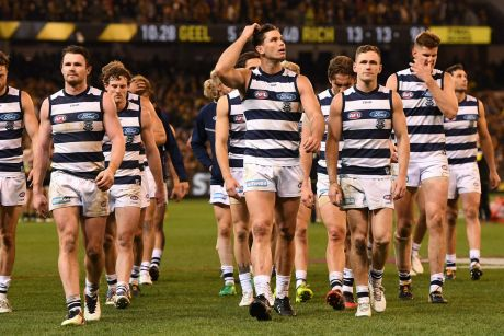 "Geelong players ""had a bad-hair day"" in their loss to Richmond, according to president Colin Carter."