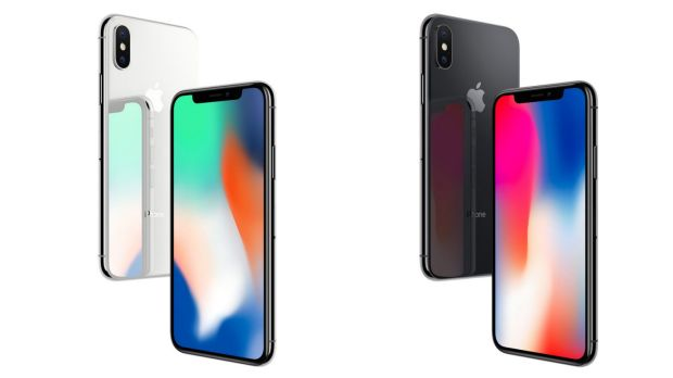 The new iPhone X comes in grey or silver.