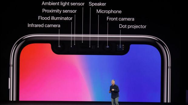 The top cut-out of the iPhone X screen houses an array of sensors.