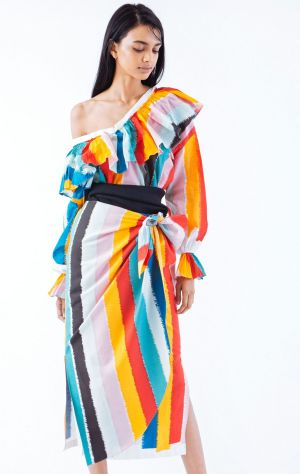 A rainbow bright dress from Tome's spring summer collection, shown in New York on Sunday.