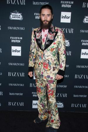 Jared Leto attends the Harper's BAZAAR 'Icons by Carine Roitfeld' party all decked out in Gucci.