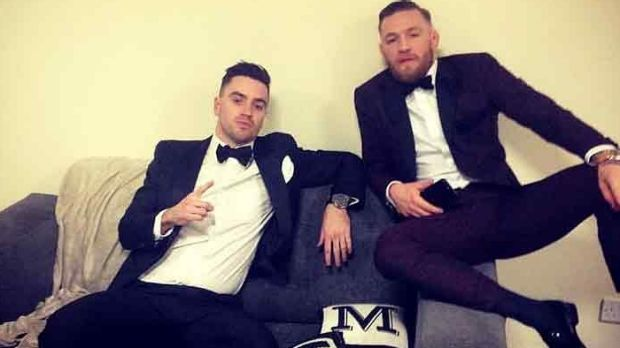 Suited up: Tim Simpson and Connor McGregor