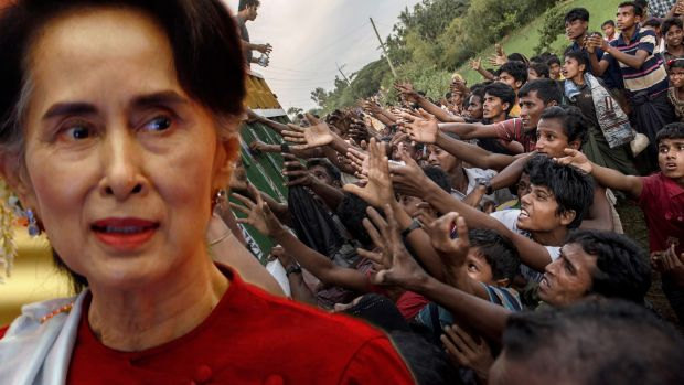 Myanmar's leader Aung San Suu Kyi superimposed on Rohingya refugees scrambling for food aid in Bangladesh