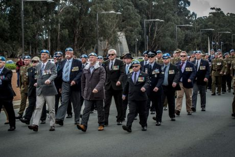 The dedication ceremony of the Australian Peacekeeping memorial on Anzac Parade in Canberra.