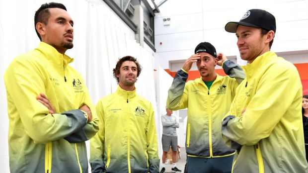 Team Australia Nick Kyrgios Jordan Thompson Thanasi Kokkinakis and John Peers will take on Belgium this weekend