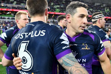 Billy Slater (right) celebrates with team-mate Cameron Munster of the Storm during the NRL qualifying final between the ...