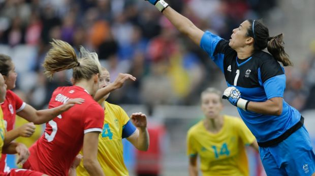 Custodian: Lydia Williams clears the ball against Canada during the 2016 Olympics.