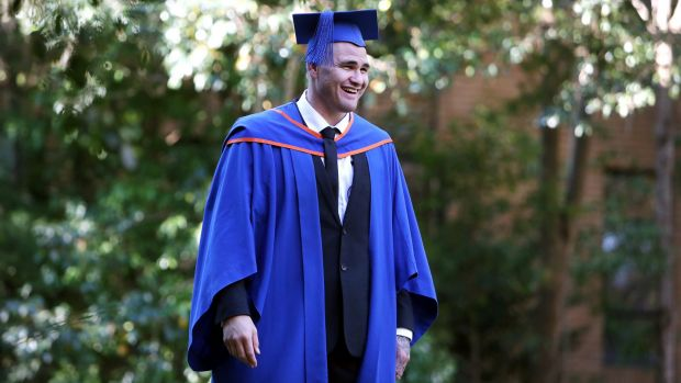Turning his life around: Russell Packer graduating from university of Wollongong.