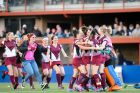 Tuggeranong Viking players celebrate their victory over St Patrick's in the Capital League 1 womens grand final after ...