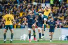 Wallabies scrumhalf Will Genia competes for a high ball during the Rugby Championship's fourth round clash between ...