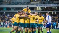 Wallabies players celebrate a try by Nick Phipps during the Rugby Championship's fourth round clash between Australia ...