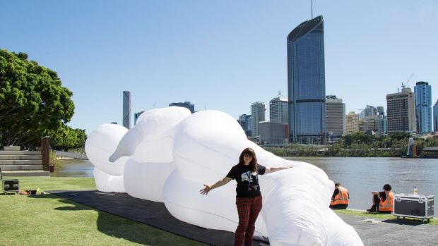 Artist Amanda Parer with one of her creations.