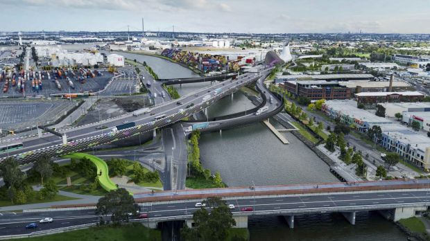 The proposed West Gate Tunnel as it cross the Maribyrnong River.