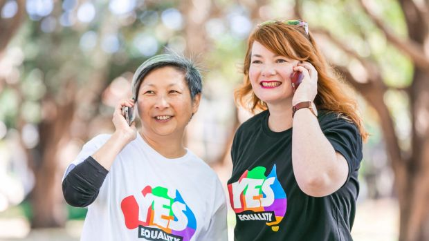 "Volunteers Anita Tang and Rebecca Wilson hosted one of hundreds of ""yes"" campaign calling parties around the nation on ..."