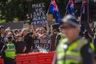 Supporters attend a far-right political rally in Melbourne on Sunday, September 17, 2017