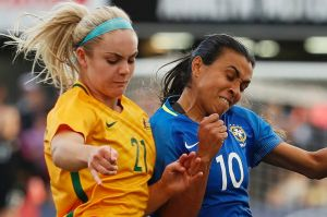 In action against Brazil, Matildas defender Ellie Carpenter thinks the W-League pay deal will help soccer become ...