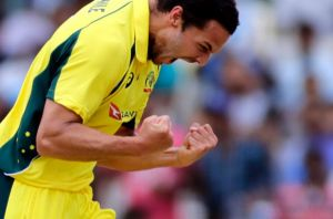 Nathan Coulter-Nile celebrates after Indian Virat Kohli's wicket in the recent ODI.