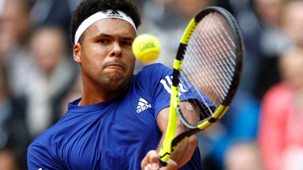 Frenchman Jo Wilfried Tsonga en route to victory over Dusan Lajovic of Serbia. Tsonga sealed a Davi Cup finals berth for