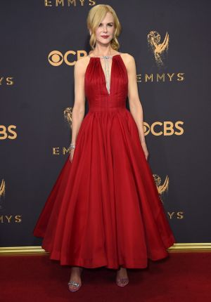 Nicole Kidman in Calvin Klein by Appointment arrives at the 69th Primetime Emmy Awards on Sunday.
