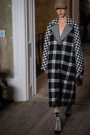 A model wears Burberry during their Spring/Summer 2018 runway show at London Fashion Week.
