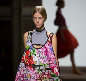 A model wears a look from the Mary Katrantzou show at London Fashion Week.
