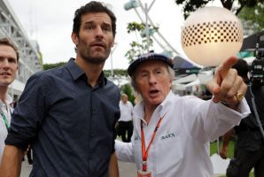Legends: Former formula 1 drivers Jackie Stewart and Mark Webber at the Singapore Grand Prix this year.