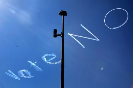 Sky-writing above Sydney's CBD supporting the 'no' vote on same sex marriage.