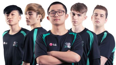 LG Dire Wolves' Calvin 'k1ng' Truong, Richard 'Phantiks' Su, Shern 'Shernfire' Tai, Ryan 'Chippys' Short and Mitchell ...