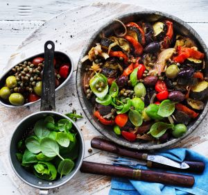 Ratatouille salad with olives and basil.