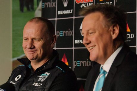 Ken Hinkley with Port Adelaide CEO Keith Thomas on Tuesday.