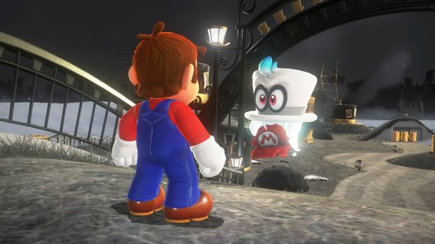 Mario teams up with the shape-shifting ghost hat Cappy at the start of Odyssey.