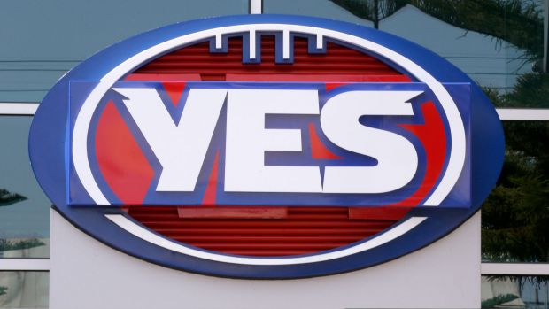 "The AFL logo outside its Docklands headquarters was changed to a ""YES"" sign in support of marriage equality in September."