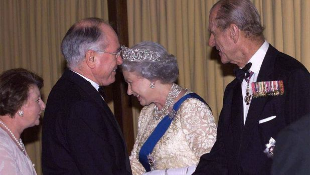 The republican issue emerged under the watch of John Howard, seen here meeting the Queen and Prince Philip.