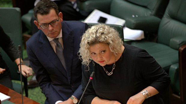 Health Minister Jill Hennessy reads a bill to legalise assisted dying for terminally ill Victorians.