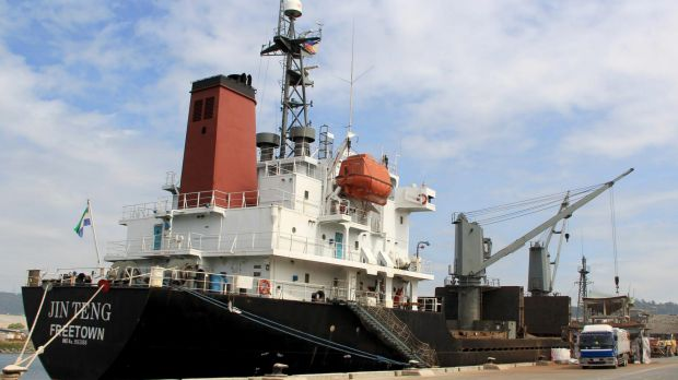 The North Korean cargo vessel Jin Teng unloads while docked at Subic Bay, north-west of Manila, Philippines, last year.