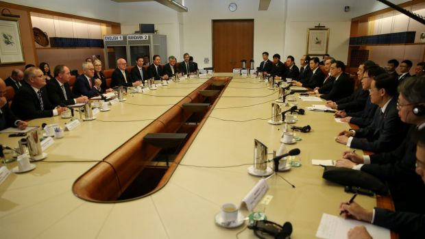 Turnbull government ministers meet with the Chinese delegation in the cabinet room at Parliament House in March.