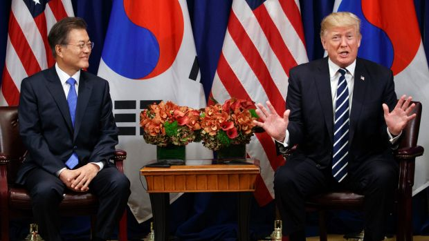 President Donald Trump speaks at a luncheon meeting with South Korean President Moon Jae-during the United Nations ...