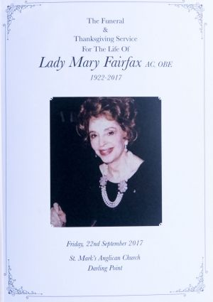 The memorial booklet for the funeral of Lady (Mary) Fairfax.
