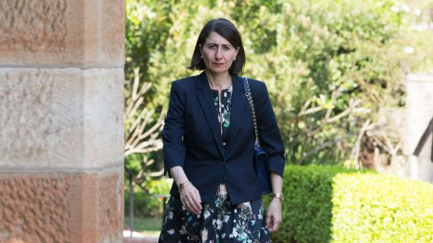 NSW Premier Gladys Berejiklian arrives at the funeral of Lady (Mary) Fairfax.