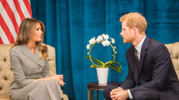 Prince Harry speaks during a bilateral meeting with US First Lady Melania Trump ahead of the start of the 2017 Invictus ...