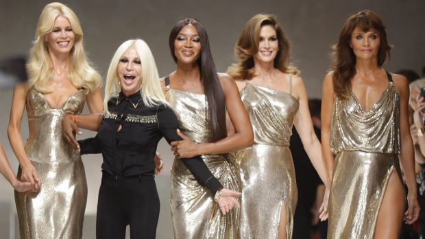Helena Christensen (right) was part of the Versace supermodel reunion last September with (from left) Claudia Shiffer, ...