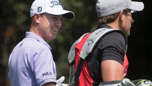 Relaxed: Justin Thomas on his way to the biggest payday in golf.