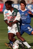 22/2/98 South Melbourne versus Marconi Fairfield FRANCIS AWARITEFE (Marconi) is tackled by NICK ORLIC (S.M.) Pic: Greg ...